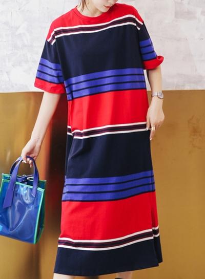 Striped Short Sleeve Round Neck Loose Slit Shirt Dress