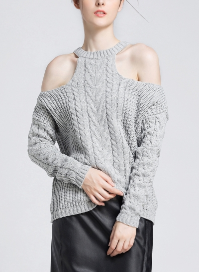 Off Shoulder Round Neck Long Sleeve Loose Solid Color Sweater