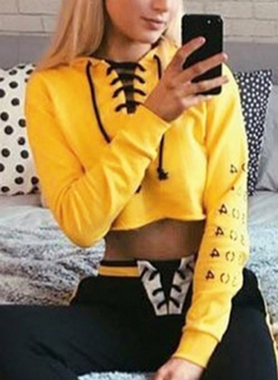 Yellow Lace up Crop Top Loose Hoodie STYLESIMO.com