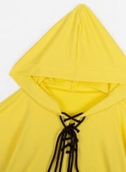 Yellow Lace up Crop Top Loose Hoodie