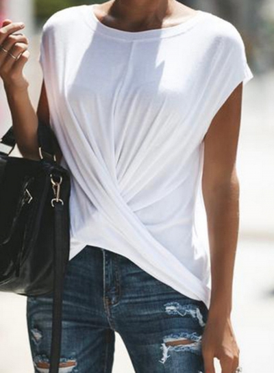 White Loose Pullover Tee For Women STYLESIMO.com