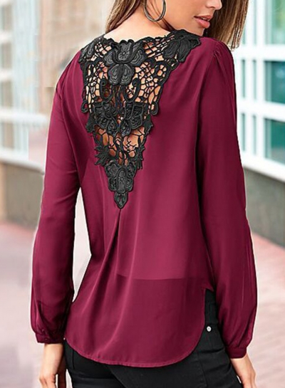 Burgundy Lace Stitched Loose Blouse