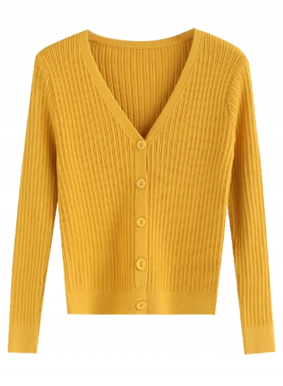 Yellow V Neck Long Sleeve Button Down Cardigan