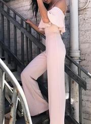 Pink Spaghetti Strap High Waist Wide Leg Jumpsuit