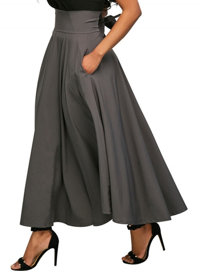 Grey Solid High Waist Pockets Bow Tie Pleated Swing Long Skirts