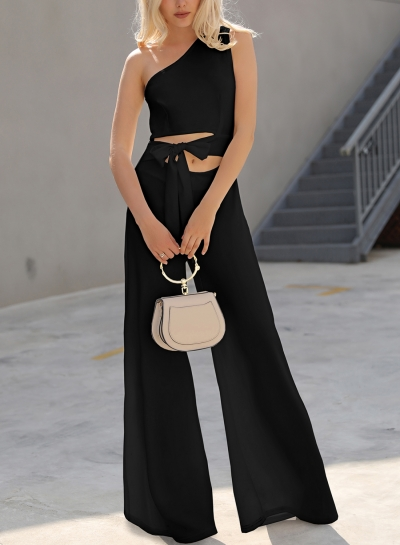 Black One Shoulder Sleeveless Cropped Bow Tie Wide Leg Jumpsuit STYLESIMO.com