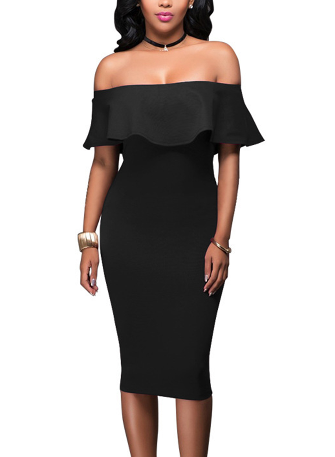 05f15e2bc61a Black Off Shoulder Short Sleeve Ruffle Bodycon Midi Dress STYLESIMO.com. Loading  zoom