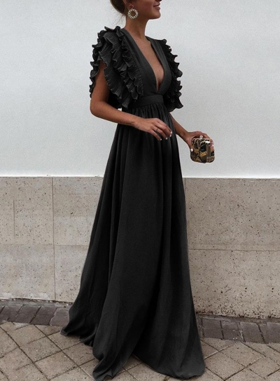 Black V Neck Flying Sleeve Elastic Waist Maxi party Dress
