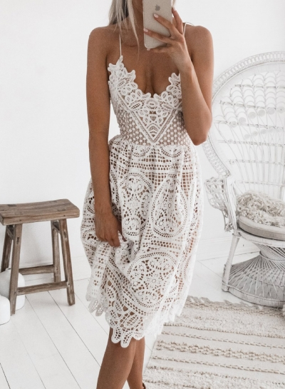 White Spaghetti Strap Backless Lace Dress STYLESIMO.com