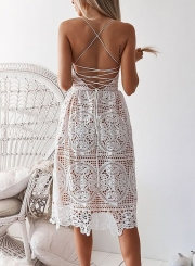 White Spaghetti Strap Backless Lace Dress
