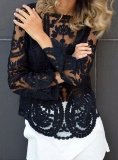 Black Long Sleeve Lace Blouse STYLESIMO.com