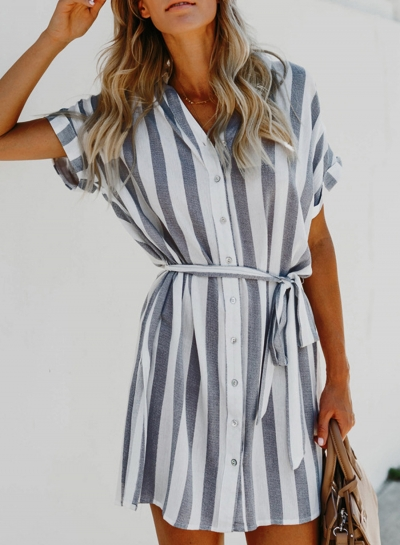 Navy Summer Striped Short Sleeve Turn-Down Collar Loose Button Down Dress