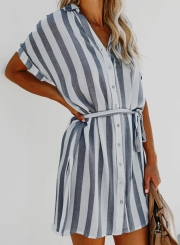 406fabe9d97 ... Navy Summer Striped Short Sleeve Turn-Down Collar Loose Button Down  Dress ...
