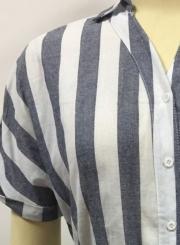 Navy Summer Striped Short Sleeve Turn-Down Collar Loose Button Down Dress