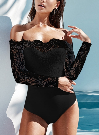 Black Fashion Sexy Slim  Lace Splicing Slash Neck Long Sleeve Bodysuit