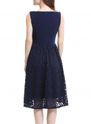 Navy Lace Stitched High Waist A-line Dress