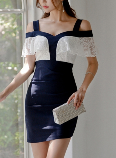 Sexy Off Shoulder V Neck Lace Ruffle Color Block Bodycon Dress STYLESIMO.com