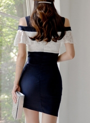Sexy Off Shoulder V Neck Lace Ruffle Color Block Bodycon Dress