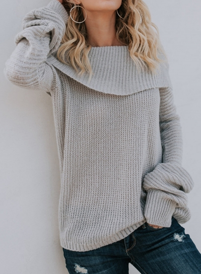 Sexy Off Shoulder Flare Sleeve Loose Pullover Sweater STYLESIMO.com