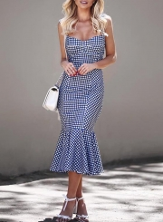 Chic Spaghetti Strap Sleeveless Backless Fishtail Plaid Dress