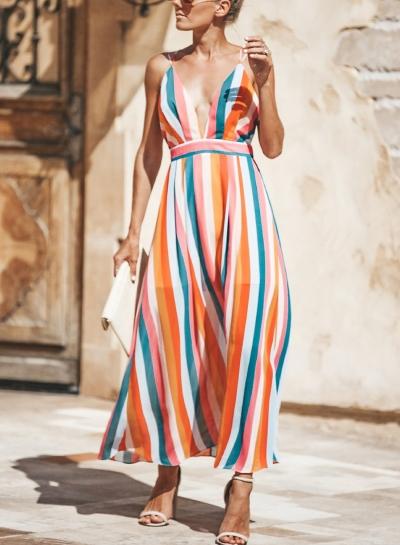 Multi Summer Spaghetti Strap Deep V Neck Criss Cross Backless Maxi Dress