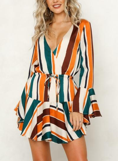 Multi Sexy Striped V Neck Flare Neck Ruffle Hem Mini Dress