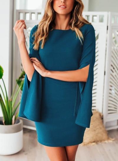 Blue Casual Round Neck Split Sleeve Bodycon Mini Dress