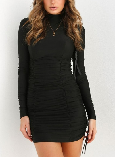 Black Casual High Neck Long Sleeve Solid Color Bodycon Dress