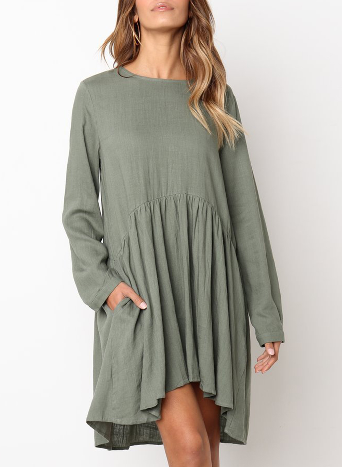 7c7f968090b3 Army green Round Neck Long Sleeve High Low Loose Pleated Mini Dress With  Pockets STYLESIMO. Loading zoom