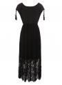 black-sleeveless-elastic-waist-lace-dress-with-tassel