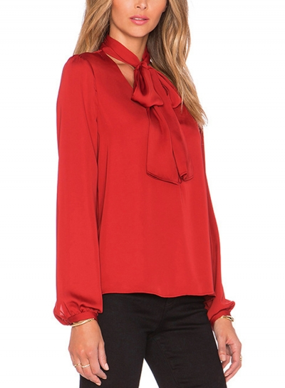 Red Casual V Neck Long Sleeve Bow Tie Pullover Blouse