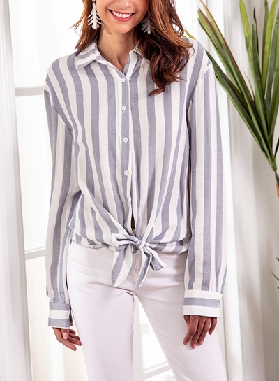 Blue Striped Turn-Down Collar Long Sleeve Bow Tie Loose Button Down Shirt