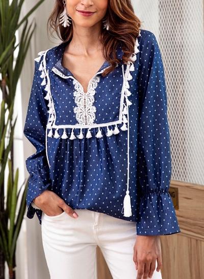 Blue Turn-Down Collar Long Sleeve Loose Lace Polka Dot Blouse
