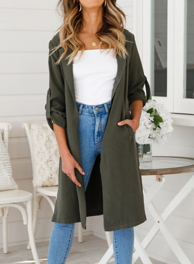 Green Thin Slit Coat Windbreaker