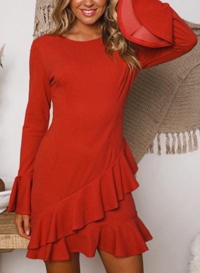 Orange Round Neck Flare Sleeve Ruffle Irregular Solid Color Mini Dress