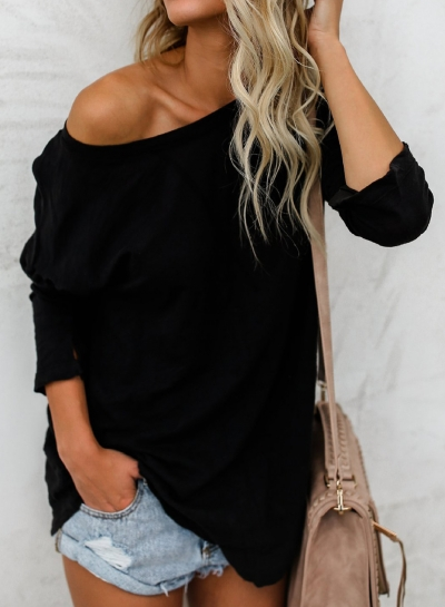 Black Casual Round Neck Long Sleeve Loose Solid Color Tee STYLESIMO.com