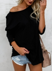 Black Casual Round Neck Long Sleeve Loose Solid Color Tee