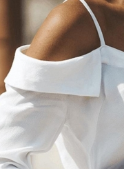 White Sexy Spaghetti Strap Cold Shoulder Long Sleeve Button Down Shirt