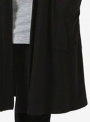 Black Casual Long Sleeve Open Front Cardigan With Pockets