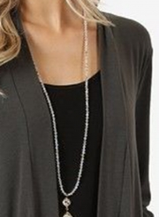Grey Casual Long Sleeve Open Front Cardigan With Pockets