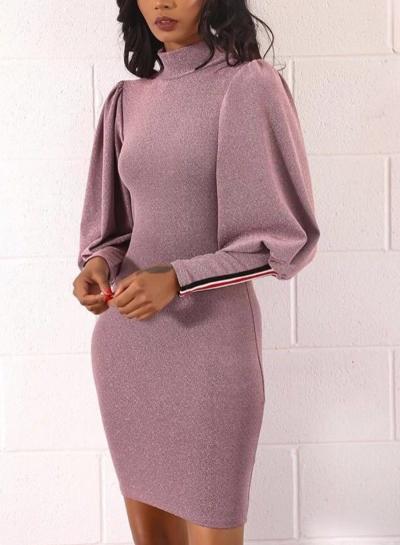 Sequin Striped Trim Mock Nack Design Bodycon Dress