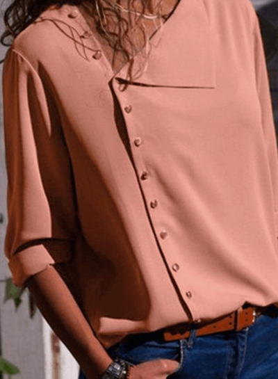 Fashion Irregular Long Sleeve Solid Button Down Shirt