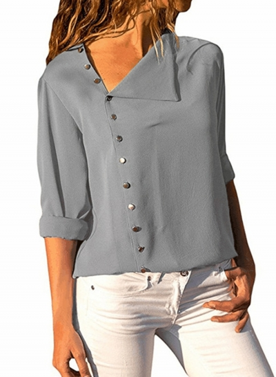 Fashion Irregular Long Sleeve Solid Button Down Shirt