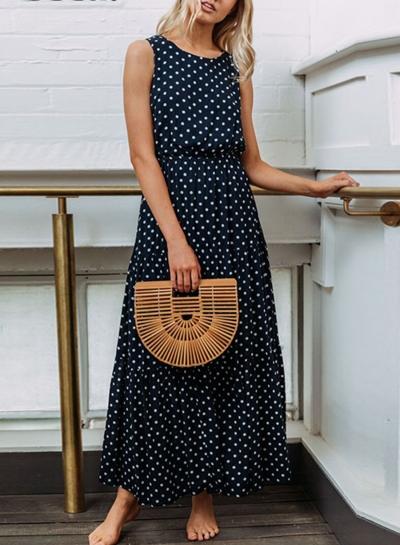 Navy Sleeveless Round Neck Elastic Waist Polka Dot Maxi Dress