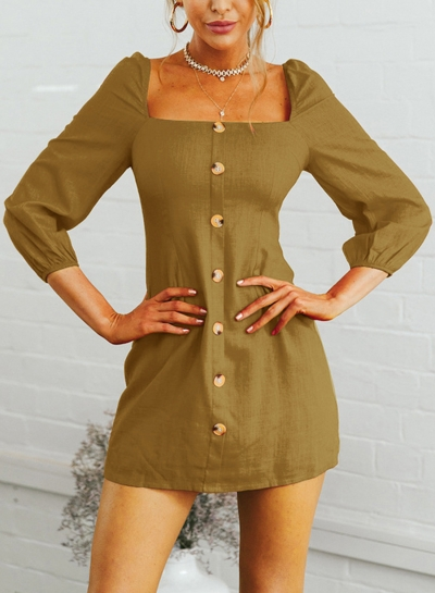 Yellow Casual Square Neck 3/4 Sleeve Solid Color Button Down Mini Dress