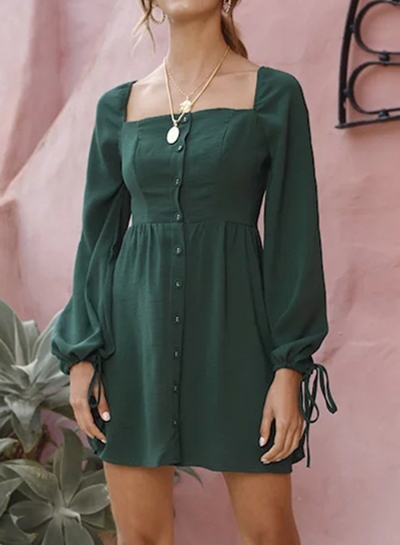 Dark Green Casual Long Sleeve Square Neck Cuff Lace-Up Button Down Mini Dress