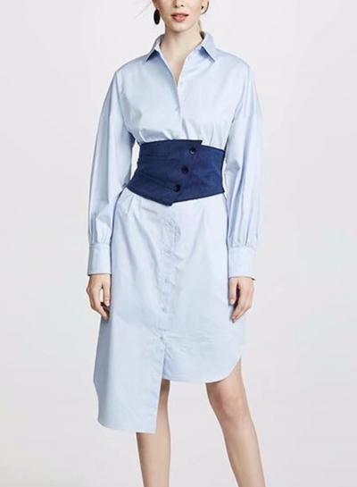 Blue Turn-Down Collar Long Sleeve Irregular Button Down Dress With Waist Seal