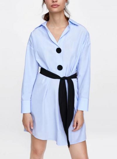 Light Blue Turn-Down Collar Long Sleeve Button Down Mini Dress With Belt