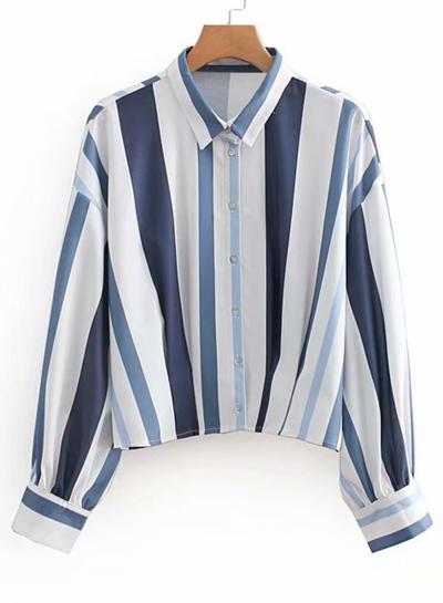 White Striped Turn-Down Collar Long Sleeve Loose Button Down Shirt
