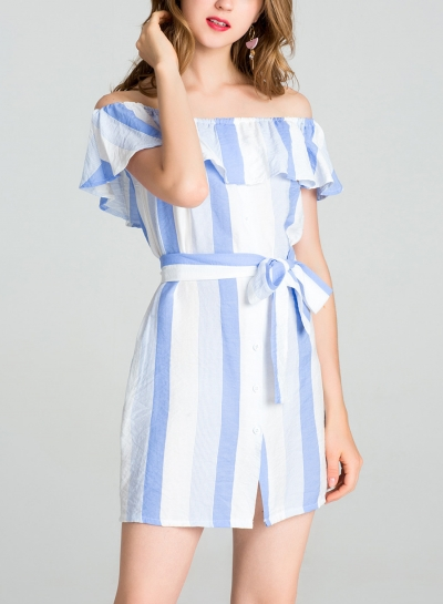 Light blue Summer Striped Off The Shoulder Bow Tie Button Down A-line Mini Dress